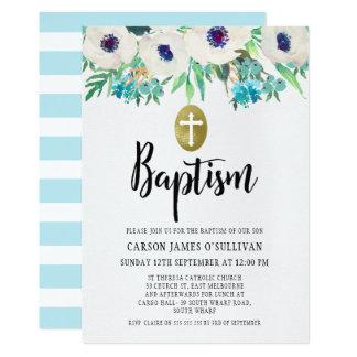 Convite floral do baptismo da aguarela dos meninos