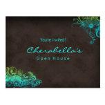 Convite floral do cartão do verde azul de turquesa cartao postal