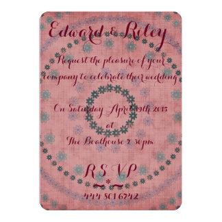 Convite floral do casamento convite 12.7 x 17.78cm