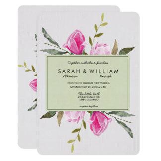 Convite floral do casamento da aguarela da