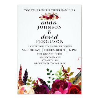Convite floral do casamento da aguarela de
