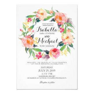 Convite floral do casamento da grinalda da