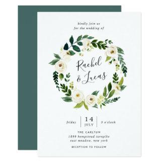 Cartão Convite floral do casamento da grinalda do