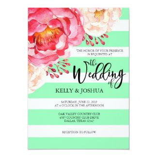 Convite floral do casamento da hortelã