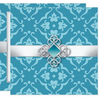 Convite floral do casamento da jóia do damasco do