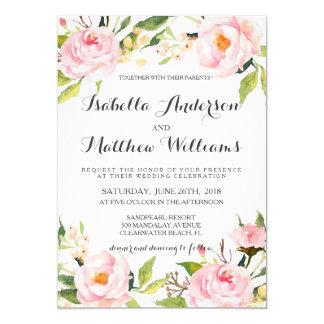 Convite floral do casamento da peônia