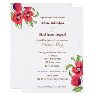 Convite floral do casamento das papoilas vermelhas