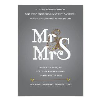 Convite floral do casamento do Ampersand no cinza