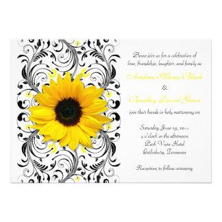 Convite floral do casamento do girassol