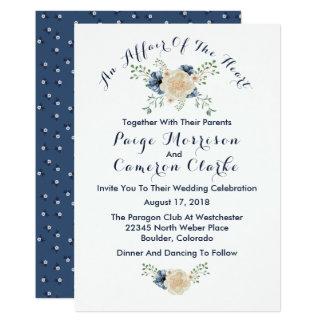 Convite floral do casamento do índigo & do jardim