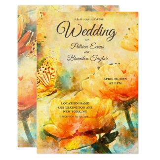 Convite floral do casamento do jardim da aguarela