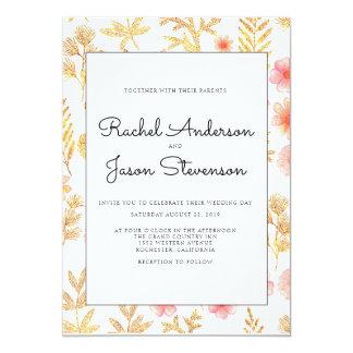 Convite floral do casamento do ouro