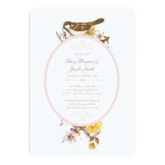 Convite floral do casamento do pássaro cor-de-rosa