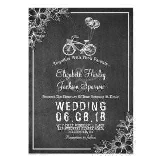 Convite floral do casamento do quadro preto &