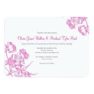 Convite floral do casamento do rosa quente