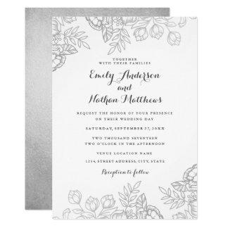 Convite floral do casamento do vintage de prata