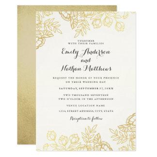 Convite floral do casamento do vintage elegante do