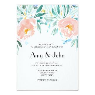 Convite floral do casamento do Watercolour do