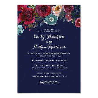Convite floral do casamento outono do marinho