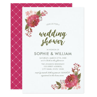 Convite floral do chá de casamento da aguarela