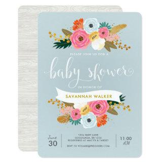 Convite floral do chá de fraldas