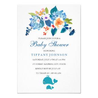 Convite floral do chá de fraldas da baleia do