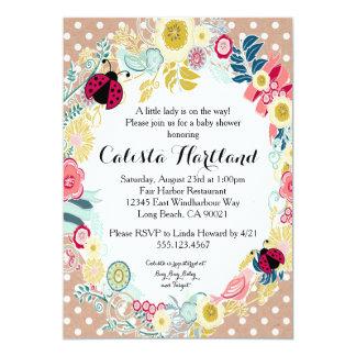 Convite floral do chá de fraldas da menina do