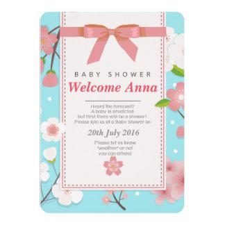 Convite floral do chá de fraldas de sakura da