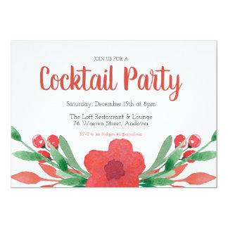 Cartão Convite floral do cocktail do Natal