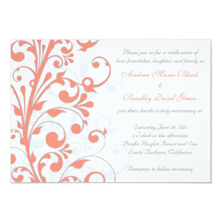 Convite floral do coral, do cinza, & o branco do convite 12.7 x 17.78cm