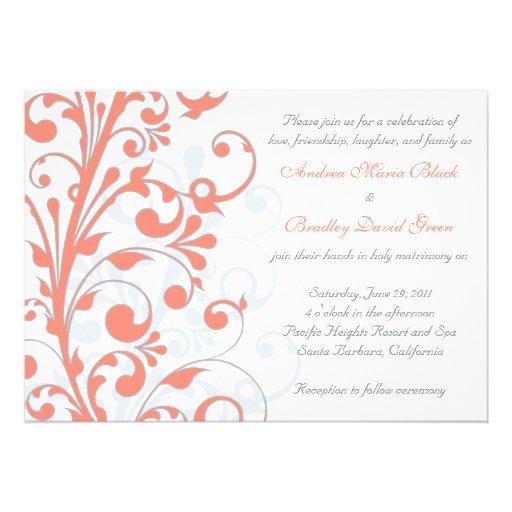 Convite floral do coral, do cinza, & o branco do c