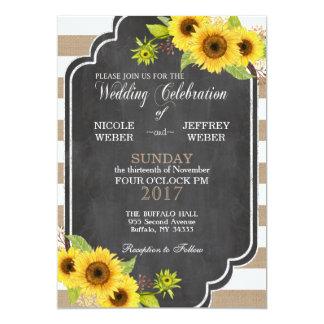 Convite floral do girassol do casamento de
