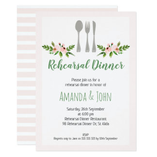 Convite floral do jantar de ensaio da cutelaria