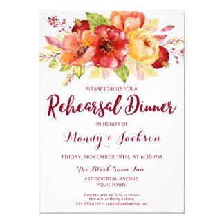 Convite floral do jantar de ensaio do outono da