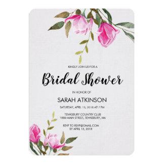 Convite floral do noivado da aguarela da magnólia