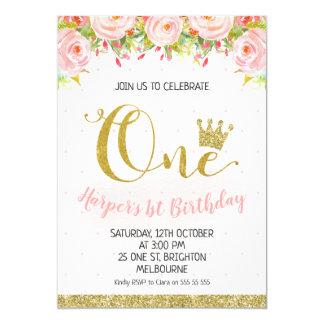 Convite floral do primeiro aniversario da princesa