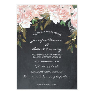 Convite floral do rosa e o branco do casamento