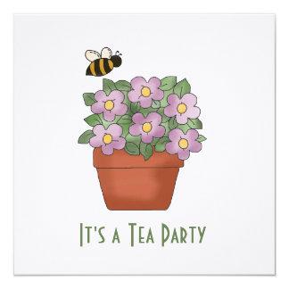 Convite floral do tea party