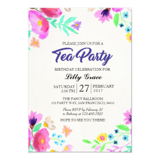 Convite floral do tea party do aniversário da