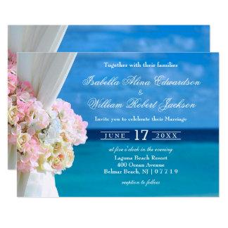 Convite floral elegante do casamento de praia do