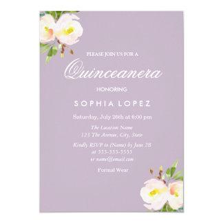 Convite floral elegante roxo de Quinceanera