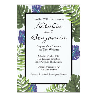 Convite floral gráfico moderno tropical do