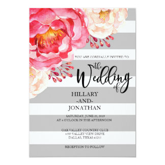 Convite floral listrado cinzento