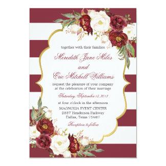 Convite floral listrado do casamento de Marsala