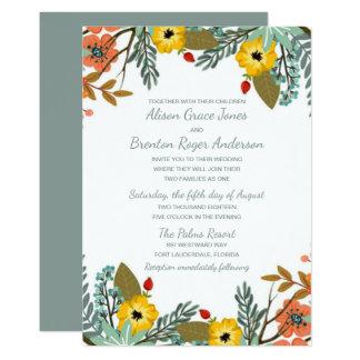 Convite floral misturado do casamento do jardim