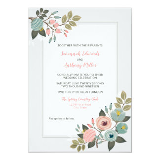 Convite floral Pastel elegante do casamento