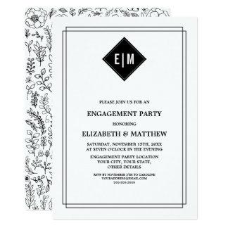 Convite floral preto da festa de noivado do branco