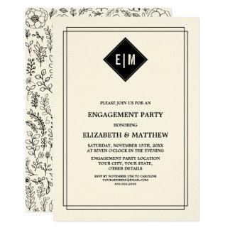 Convite floral preto da festa de noivado do creme