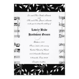 Convite floral preto do casamento da música