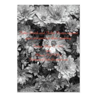 convite floral preto e branco do casamento